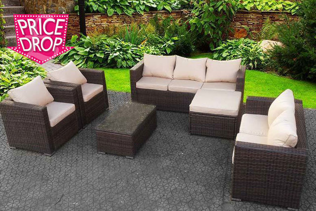 8 seater rattan garden furniture set table 3 colours - Garden Furniture Colours