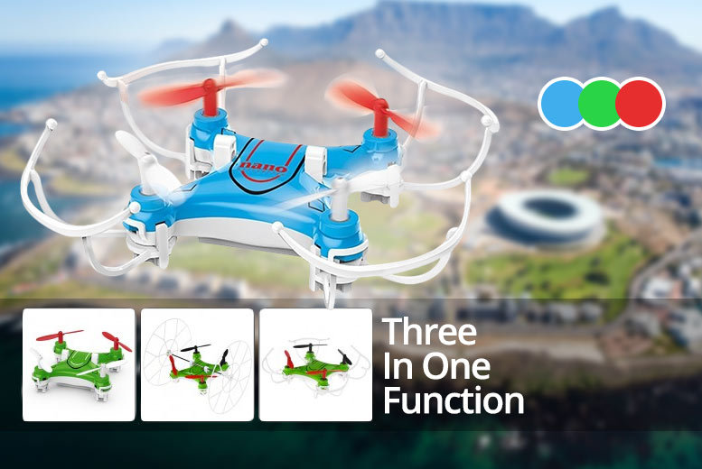 360 Flying Quadcopter Nano Drone – 3 Colours! from £19