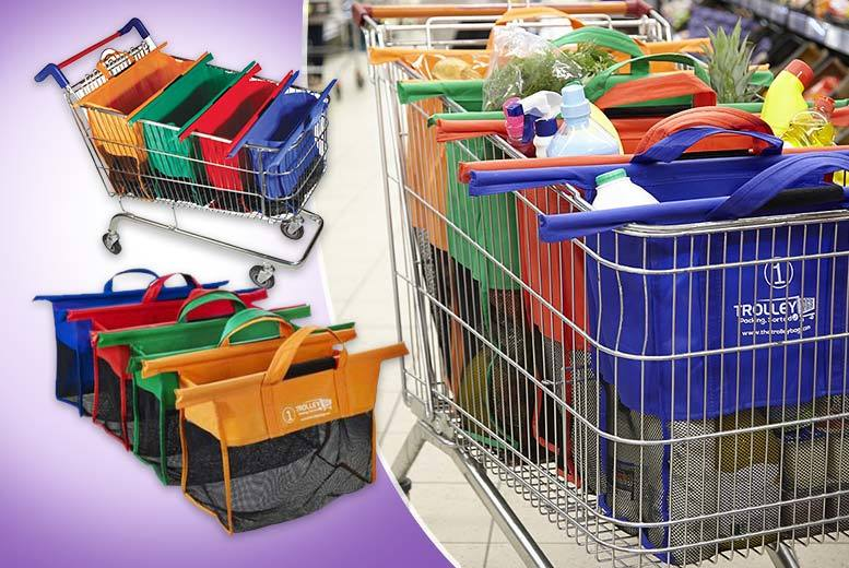 £12.99 instead of £29.99 for a set of four re-usable shopping trolley bags - save 57%
