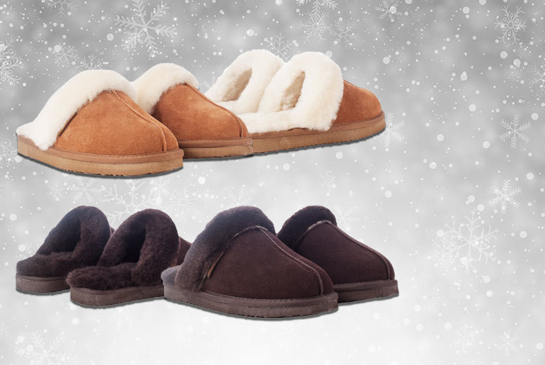 £27.99 instead of £100 for a pair of ladies\' sheepskin mule slippers - choose chocolate or tan and save 72%