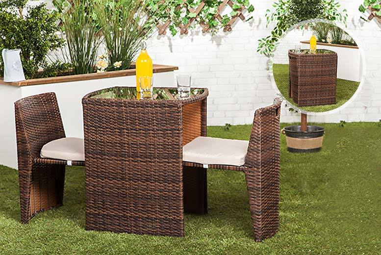 Two Seater Patio Set Part - 46: Get A Two-seater Rattan Set With A Gorgeous Brown Finish. Includes Two  Rattan Chairs And A Glass-topped Dining Table. Practical Space-saving  Design U2013 Ideal ...