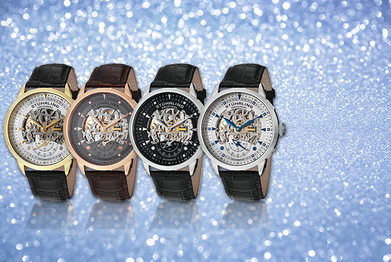 £85 instead of up to £571.01 (from JB Watches) for a men\'s Stuhrling skeleton watch - choose from four styles and save up to 85%
