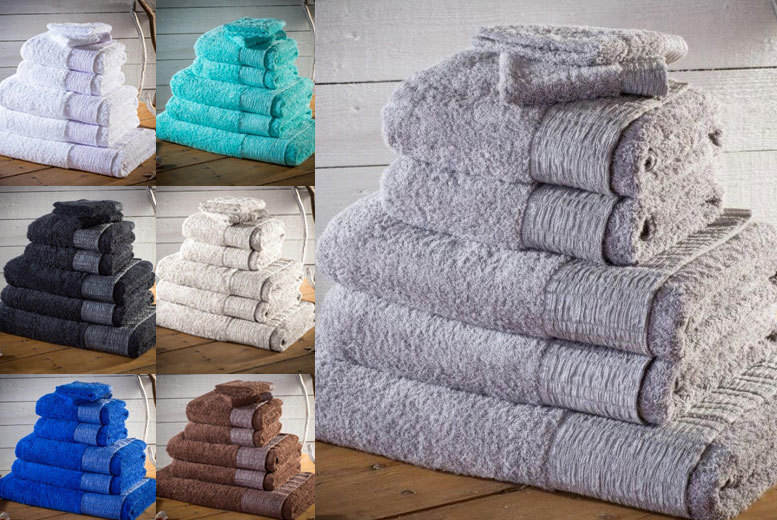 7pc 500gsm Egyptian Cotton Towel Bale with Lurex Border from £14