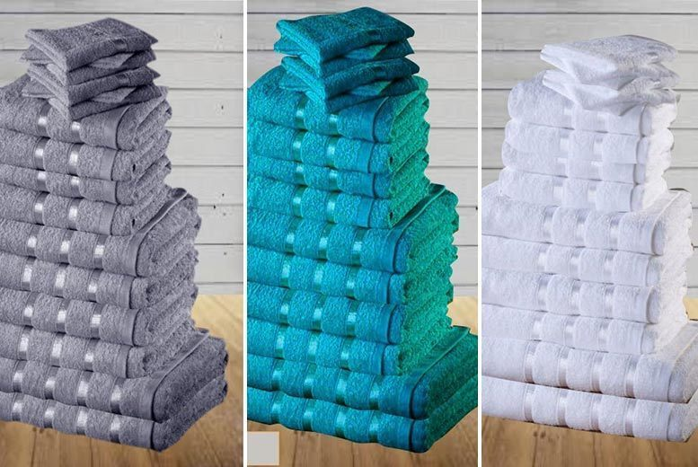 8 or 16pc Luxury 100% Egyptian Cotton Towel Set – 7 Colours! from £9.99