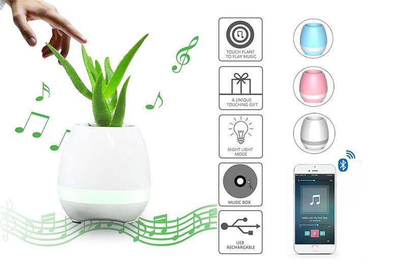 Intelligent Bluetooth LED Flower Pot Speaker – 3 Colours! from £12.99