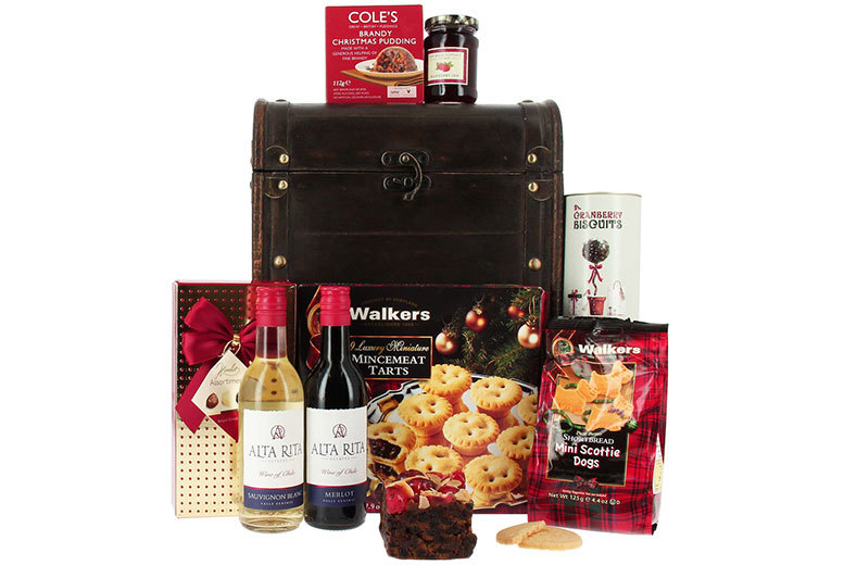 £29 instead of £87.50 for a MasterChef Christmas hamper with wine, £64 for hamper and bubbly, £69.50 for an oak hamper and £89 for a deluxe hamper - save up to 67%