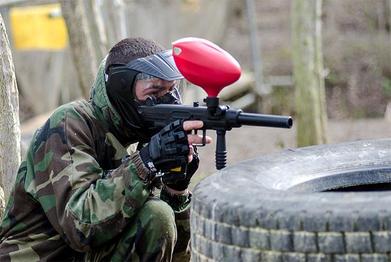 £7 for a full day of paintballing for five people including lunch and 100 paintballs each, or £10 for ten people at Conflict Paintball, Northampton - save up to 86%