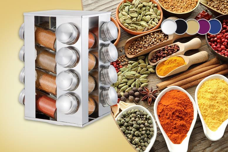 £10 instead of £39.99 for a revolving metallic spice rack and 16 jars - choose from five colours and save 75%