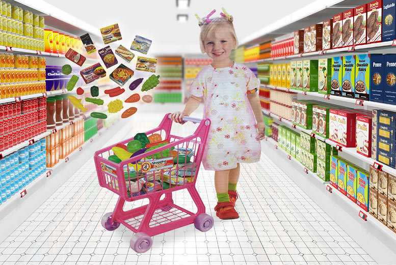 £12 instead of £49.99 (from Funky Buys) for a blue or pink shopping trolley with groceries - give your kids some retail therapy and save 76%