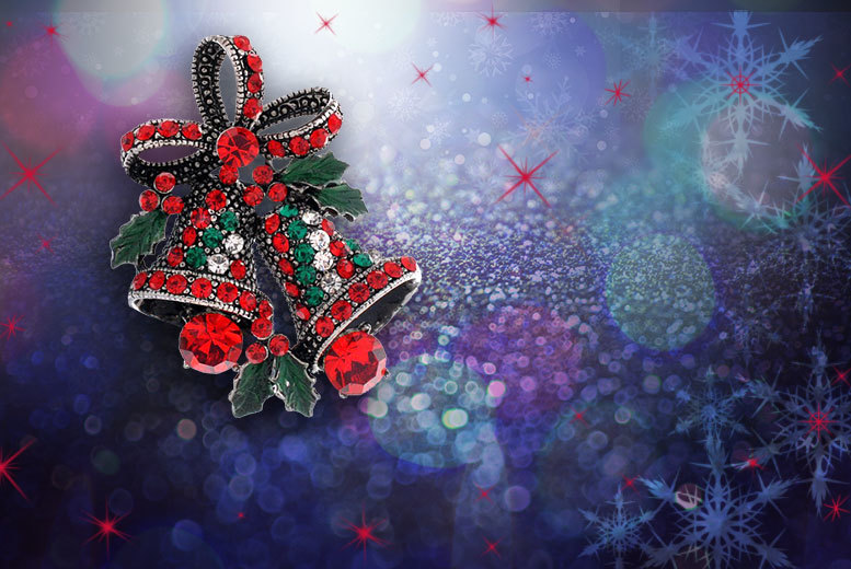 £7 instead of £45 (from Alvi's Fashion) for a Christmas bell brooch made with Swarovski Elements - save 84%