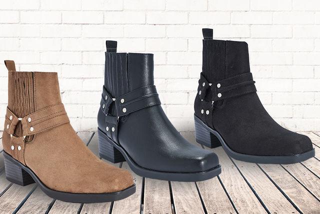 low-heel block ankle boots