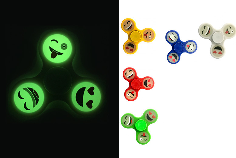 Glow-in-the-Dark Emoji Fidget Spinner – 5 Colours! from £2.99