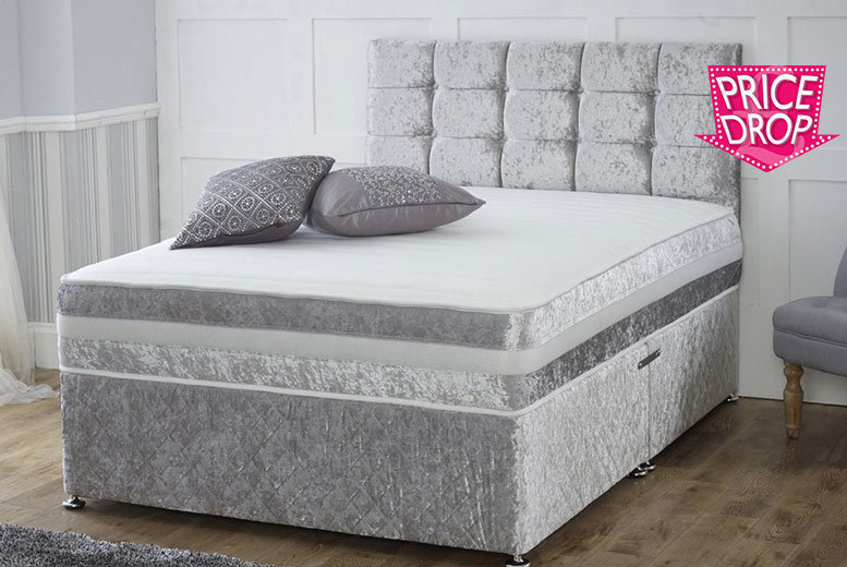 Crushed Velvet Divan Bed With Memory Foam Mattress Headboard From 149