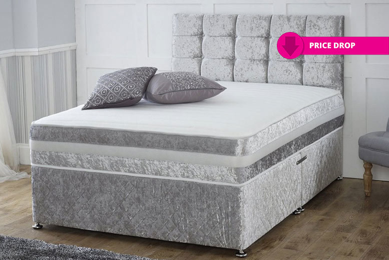 Crushed Velvet Divan Bed With Memory Foam Mattress & Headboard - 3 Colours!