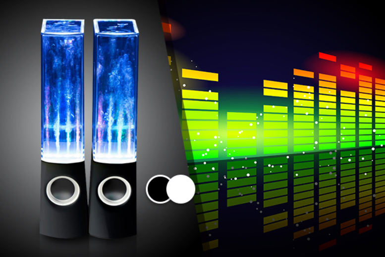 £11 (from Chimp Electronics) for a pair of dancing water speakers in a choice of black or white - save 78%