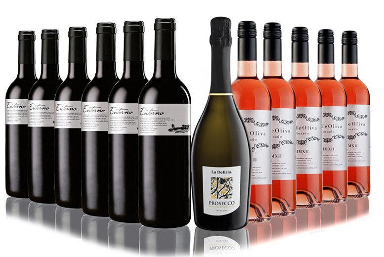 12 Bottle Rosé and Red Vibes Mixed Wine & Prosecco Hamper from £49.99