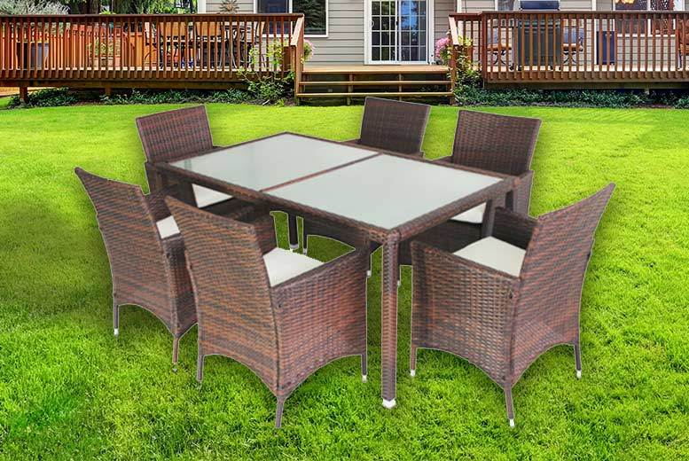 7pc Milan Rattan Dining Set – 2 Colours! from £279