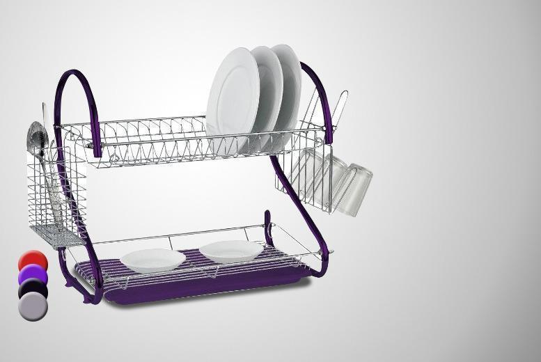 £8 instead of £36 for a two-tiered dish drainer - choose from 4 colours and save 78%