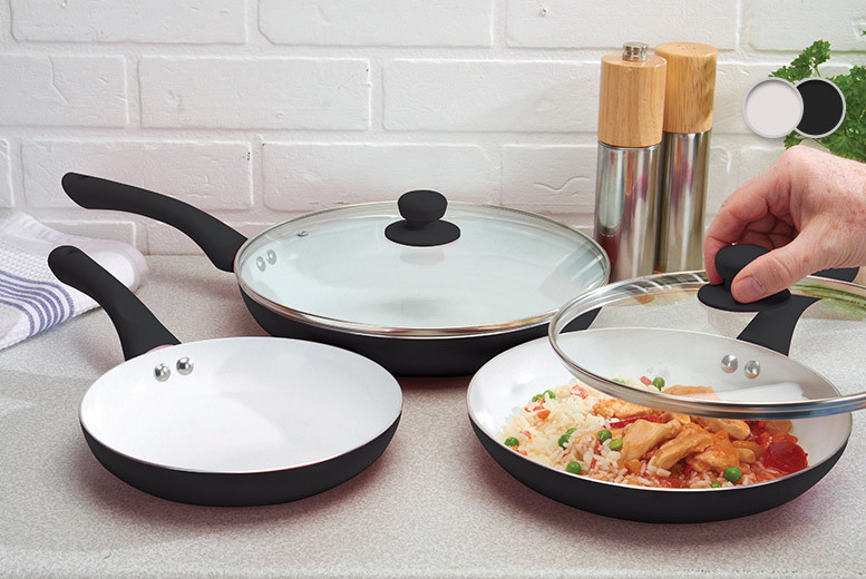 £17.99 instead £125 (from Jean-Patrique) for a five-piece non-stick ceramic pan set - choose from 3 colours and save 86%