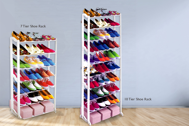 £6.99 instead of £36 (from Groundlevel) for a seven-tier shoe rack, or £9.99 for a 10-tier rack - choose from a black or white finish and save up to 83%