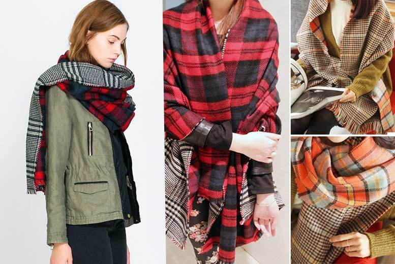 £9 instead of £39.99 (from Eden Wear) for a ladies' reversible knit tartan scarf - choose from red or yellow and save 77%
