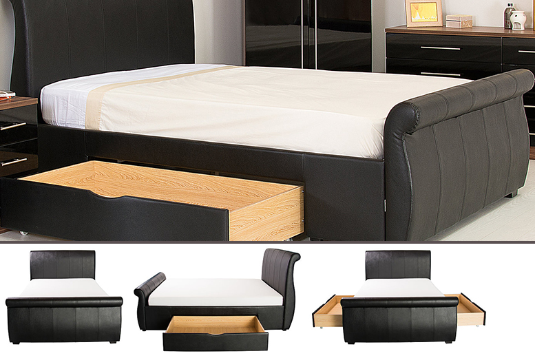 2-Drawer Sleigh Bed