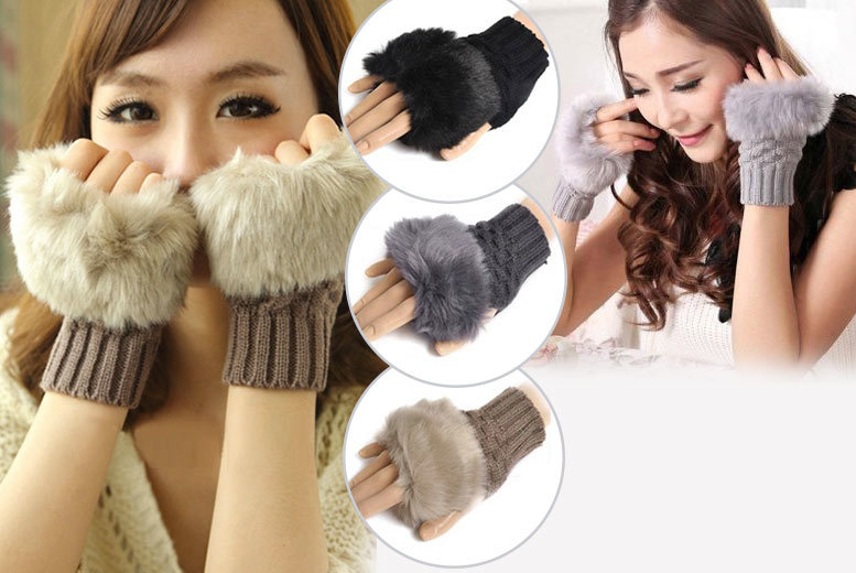 £4.99 instead of £29.99 (from Boni Caro) for a pair of stylish faux fur and knitted wool fingerless Gabbie Gloves - choose from three colours and save 83%
