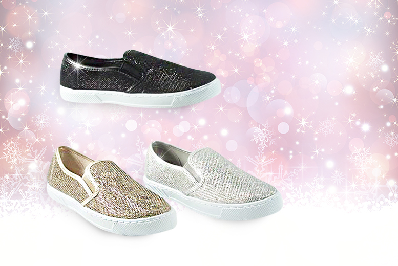 £12 instead of £49.99 (from Solewish) for a pair of sparkling Glitzie trainers - choose you favourite from black, silver and gold and save 76%