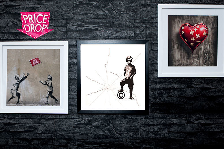 £6.99 instead of £35 (from ARTF.LY) for a four-piece 15cm x 15cm Banksy print set, £11.99 for an 18cm x 18cm quad set including frames - save up to 80%