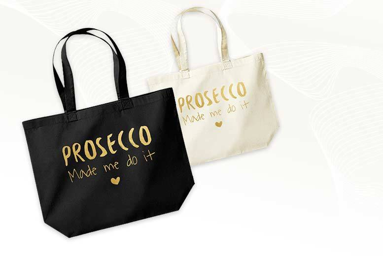 £8 instead of £19.99 (from Treats on Trend) for a natural or black Prosecco quote tote bag in a choice of three designs - save 60%
