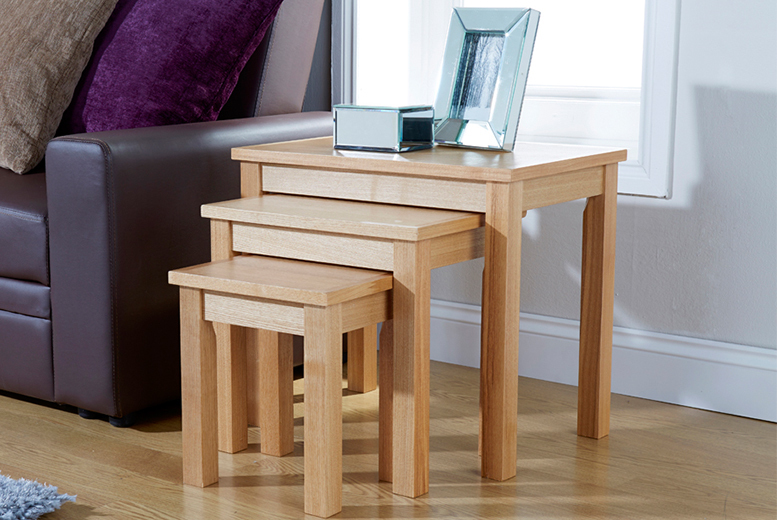 £49 (from Wowcher Direct) for a set of three oak veneer nesting tables - save 59% + DELIVERY IS INCLUDED!