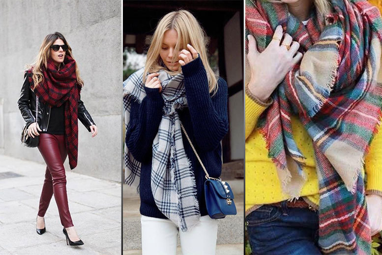 £9 instead of £34.99 (from Eden Wear) for a women's chunky tartan scarf - choose from three designs and save 74%