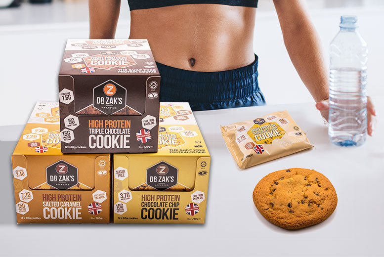 12 Dr Zak's Protein Cookies – 3 Flavours! for £12