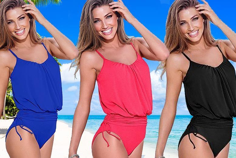Ruched One-Piece Swimsuit – 3 Colours! from £12