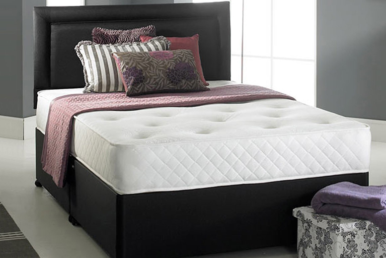 Regal Divan Faux Leather Bed set inc. Memory Pocket Mattress