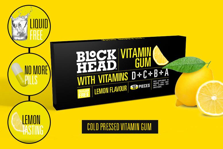 BLOCKHEAD Lemon Flavoured Vitamin Gum – 3 or 5 Packs! from £3.99