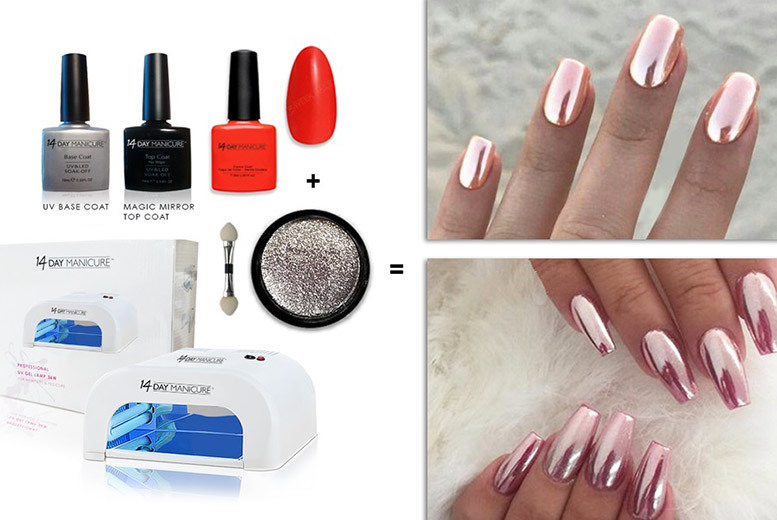 UV Lamp and 5pc Rose Gold Manicure Kit from £29