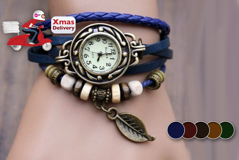 £6 instead of £34.99 for a bohemian-style beaded wraparound watch from Wowcher Direct- save 83%
