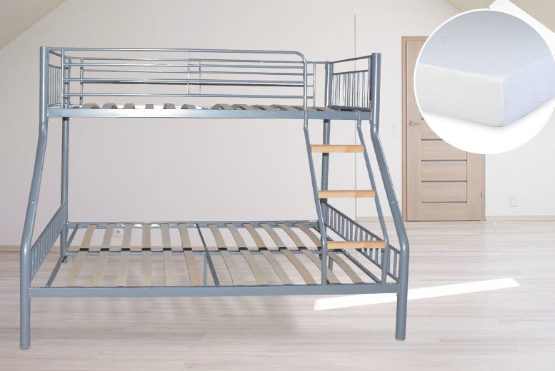 Triple-Sleeper Bunk Bed Frame - Upgrade for Mattresses & Pillows!