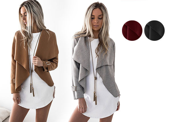 buckle sleeved waterfall jacket