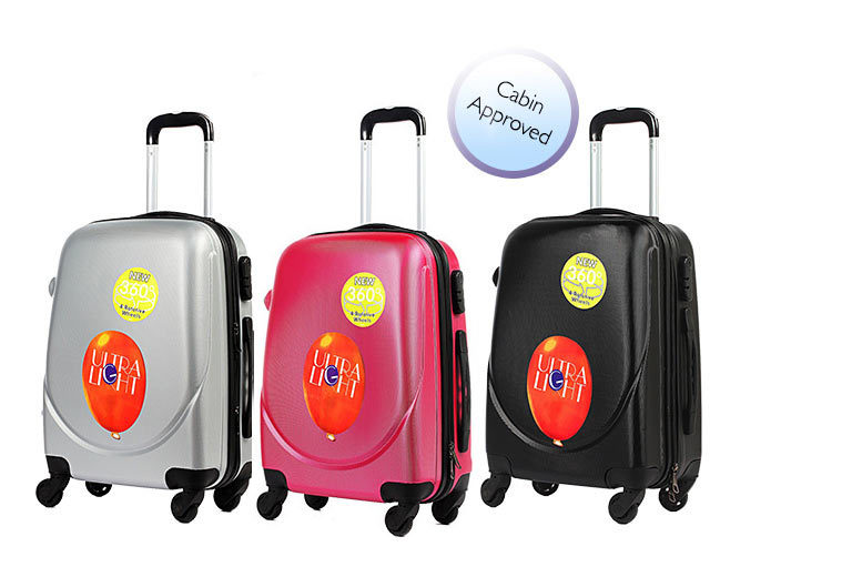 Lightweight Four-Wheeled Hard Shell Cabin Luggage – 5 Colours! for £14