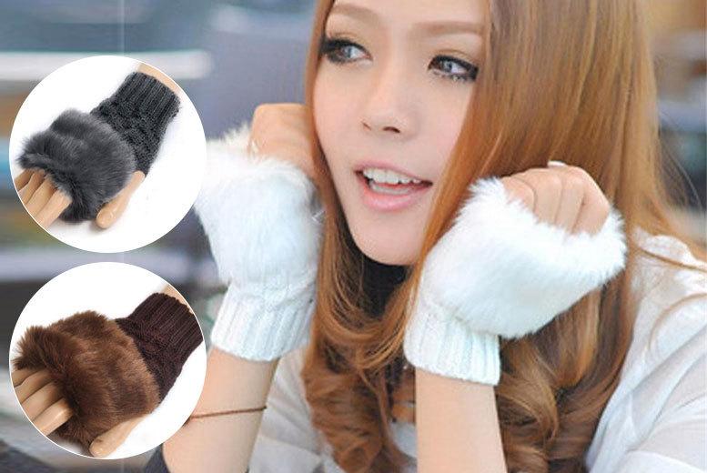 Faux-Fur Fingerless Gabbie Gloves for £4.99