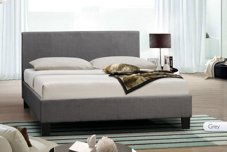 Fabric-Covered Wooden Bed