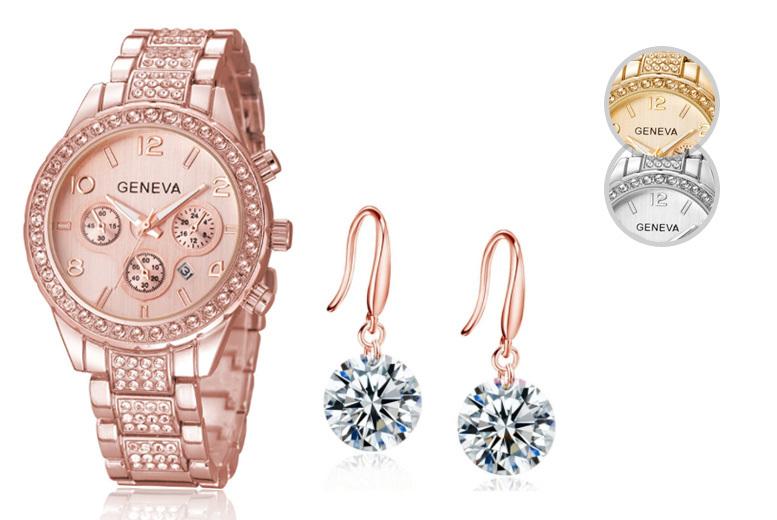 Ladies Crystal Freya Watch & Cubic Zirconia Earring Set - 3 Styles!