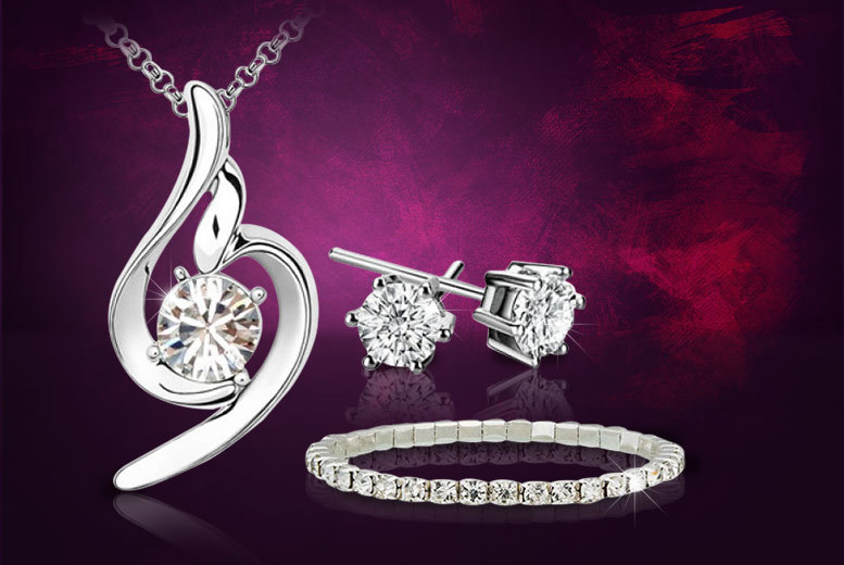 £8 instead of £129 (from Your Ideal Gift) for a clear swirl pendant and earrings set with a single row bracelet made with Swarovski Elements - save 94%