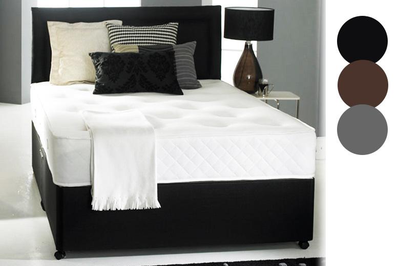 Faux Leather Divan Bed With Memory Foam Mattress & Headboard
