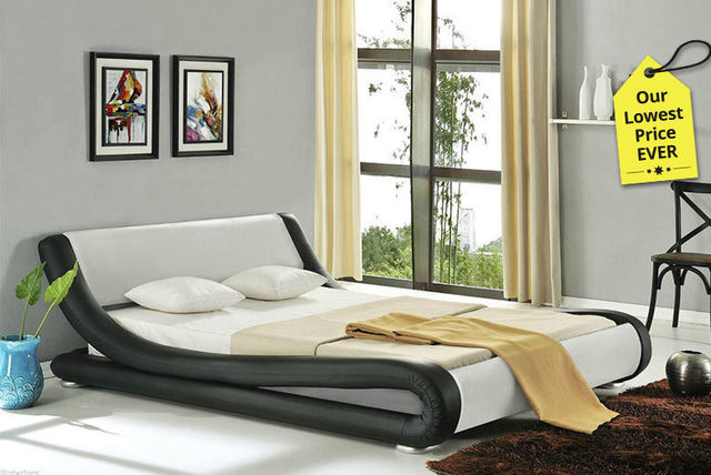 designer italian faux leather bed with mattress options