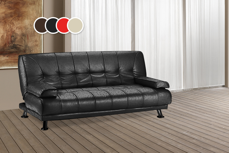 Faux leather sofa bed 4 colours for Leather sofa deals