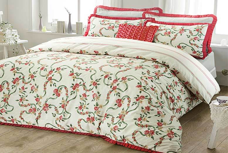 Luxury English Rose Floral 68 Pick Frilled Duvet Cover Set