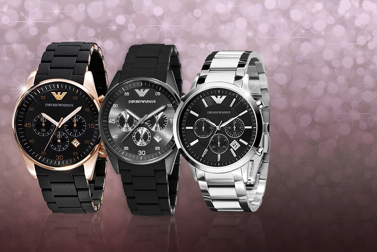 £149 instead of up to £335.01 for a men's Emporio Armani watch - choose between three designs and save up to 56%